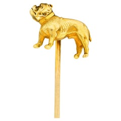 Tiffany & Co. Art Nouveau 18 Karat Yellow Gold Bulldog Stickpin