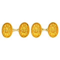 Tiffany & Co. Art Nouveau 18 Karat Yellow Gold Men's Cufflinks