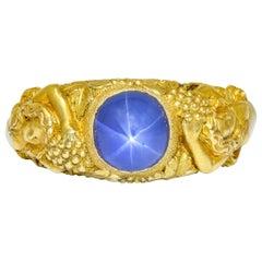 Tiffany & Co. Art Nouveau Star Sapphire 14 Karat Gold Bacchantes Unisex Ring