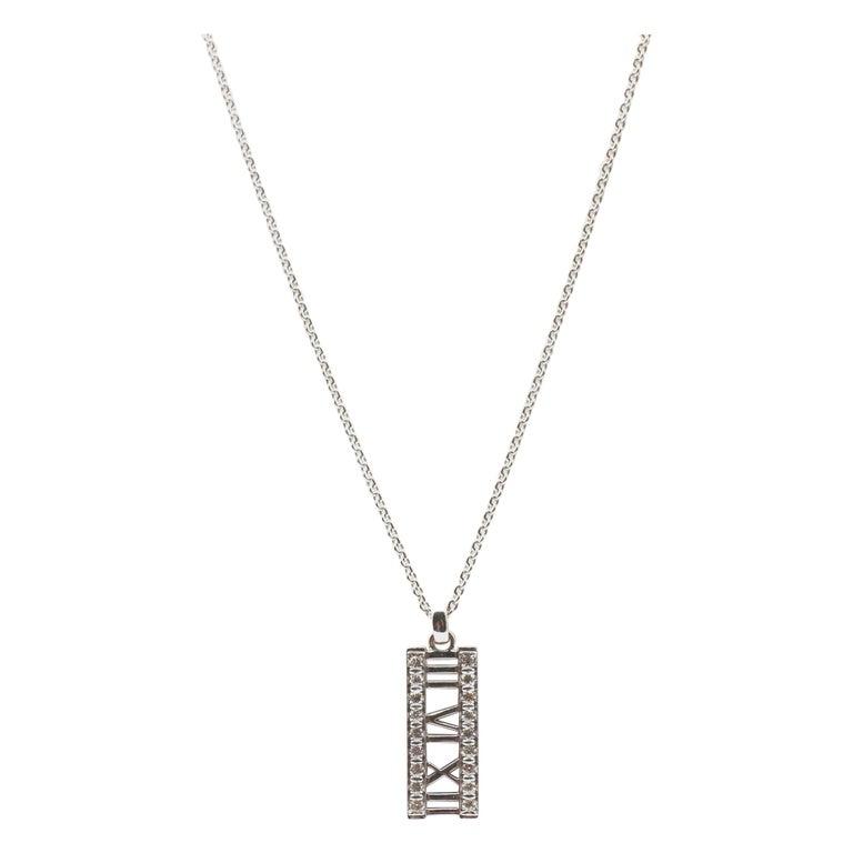 Tiffany & Co. Atlas 18 Karat White Gold Diamond Bar Pendant Necklace For Sale