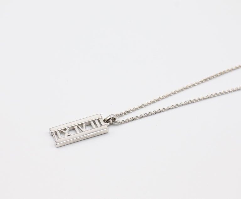 Tiffany & Co. Atlas 18 Karat White Gold Diamond Bar Pendant Necklace For Sale 4