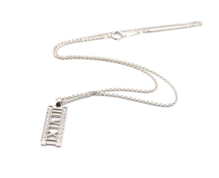 Tiffany & Co. Atlas 18 Karat White Gold Diamond Bar Pendant Necklace For Sale 6