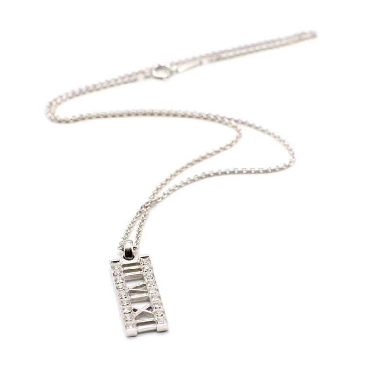Tiffany & Co. Atlas 18 Karat White Gold Diamond Bar Pendant Necklace For Sale 7