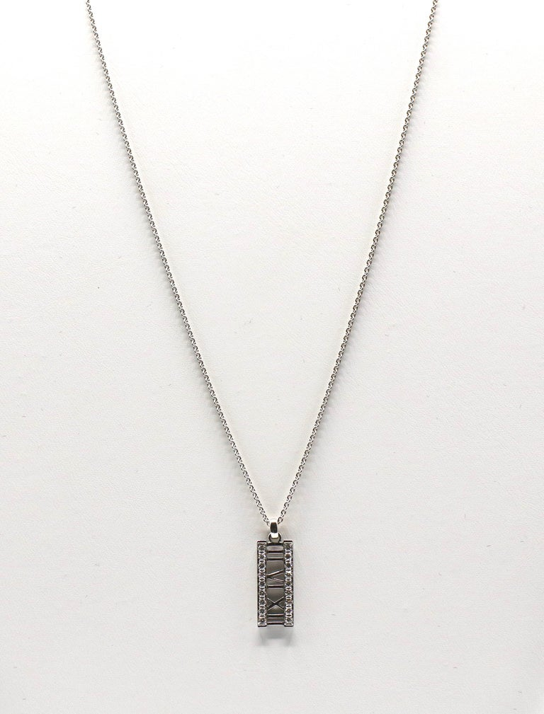 Tiffany & Co. Atlas 18 Karat White Gold Diamond Bar Pendant Necklace In Good Condition For Sale In  Baltimore, MD