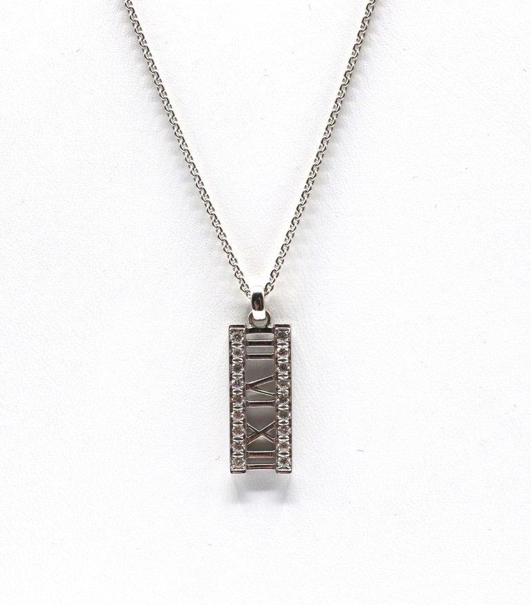 Women's or Men's Tiffany & Co. Atlas 18 Karat White Gold Diamond Bar Pendant Necklace For Sale