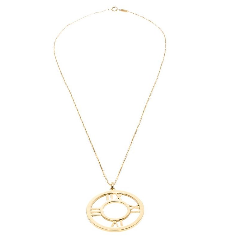 a7f80638dada0 Tiffany & Co. Atlas 18k Yellow Gold Round Pendant Necklace