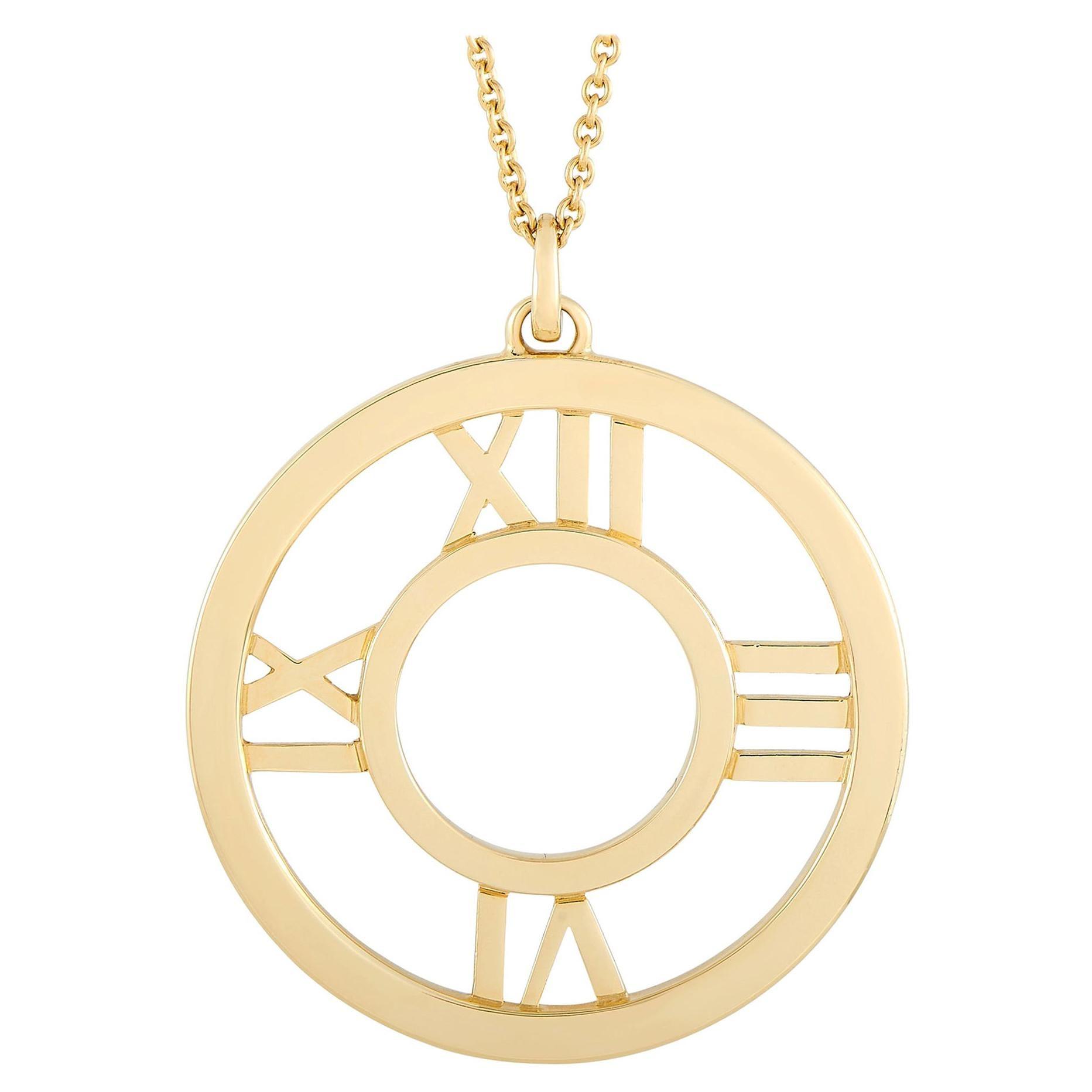 Tiffany & Co. Atlas 18k Yellow Gold Round Pendant Necklace
