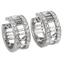 Tiffany & Co. Atlas 1Ct Diamond 18 Karat Gold Wide Hoop Earrings Roman Numerical