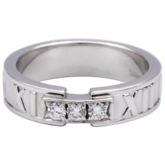 Tiffany & Co. Atlas 3-Diamond Ring in 18 Karat White Gold