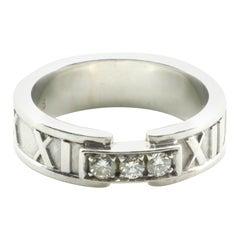 Tiffany & Co. Atlas Band Ring 18 Karat White Gold with Diamonds