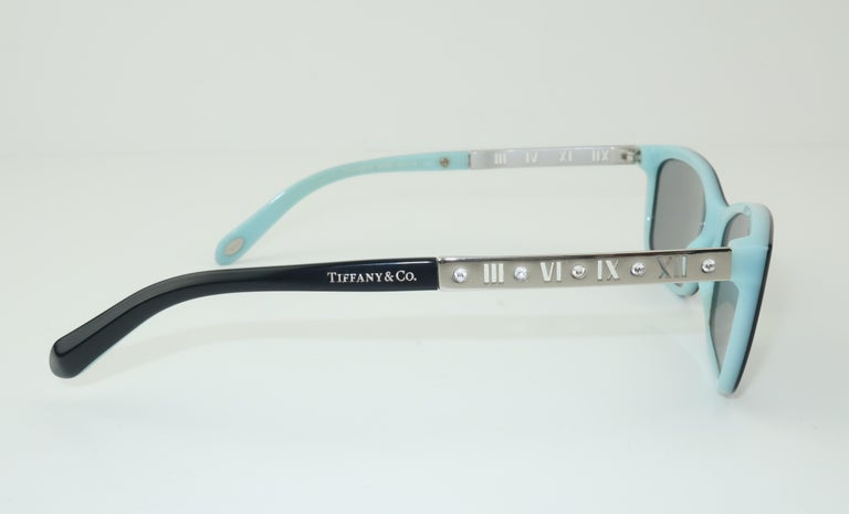 Women's or Men's Tiffany & Co. Atlas Black & Blue Sunglasses For Sale