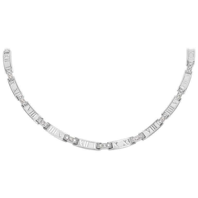 510144e97 Tiffany & Co. Atlas Collar Diamond Necklace in 18 Karat White Gold 1.50  Carat For