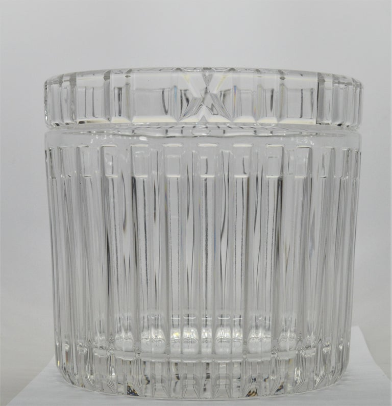 Tiffany & Co. Crystal Champagne Ice Cooler Bucket from the Atlas Collection featuring an Art Deco Roman numeral motif and named after the famed Atlas Clock that has crowned the entrance to the Tiffany flagship store since the 1850's. This stunning