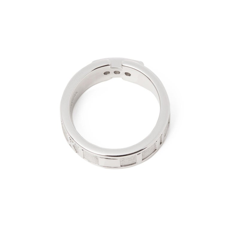 Round Cut Tiffany & Co. Atlas Diamond 18 Carat White Gold Band Ring For Sale