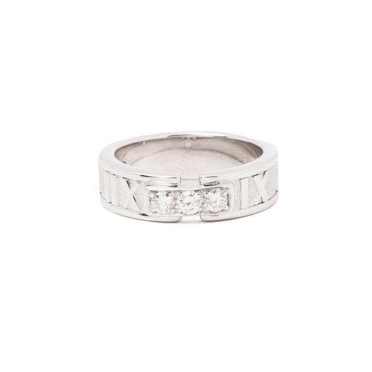 Women's or Men's Tiffany & Co. Atlas Diamond 18 Carat White Gold Band Ring For Sale