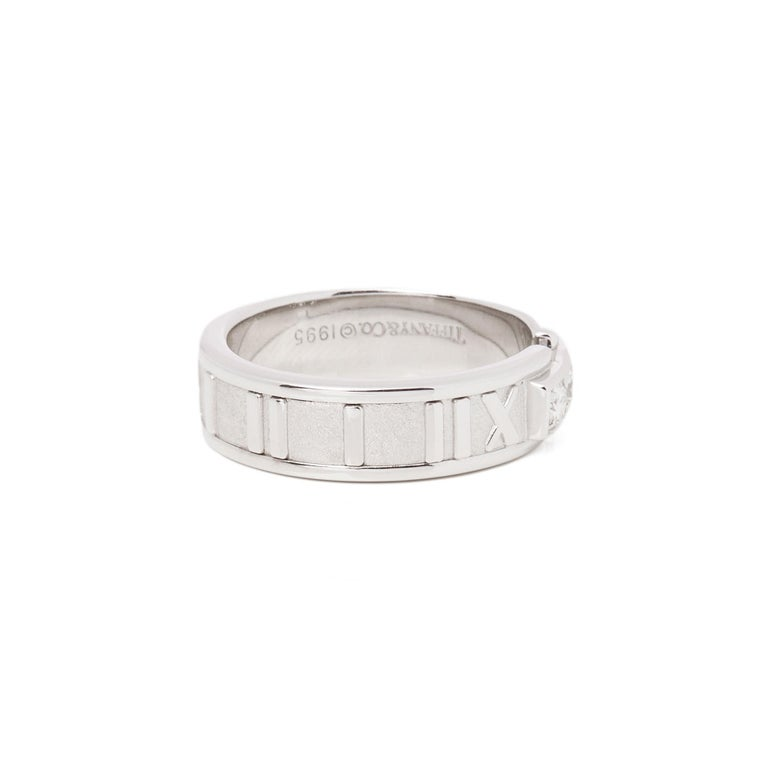Tiffany & Co. Atlas Diamond 18 Carat White Gold Band Ring For Sale 1