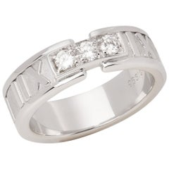 Tiffany & Co. Atlas Diamond 18 Carat White Gold Band Ring