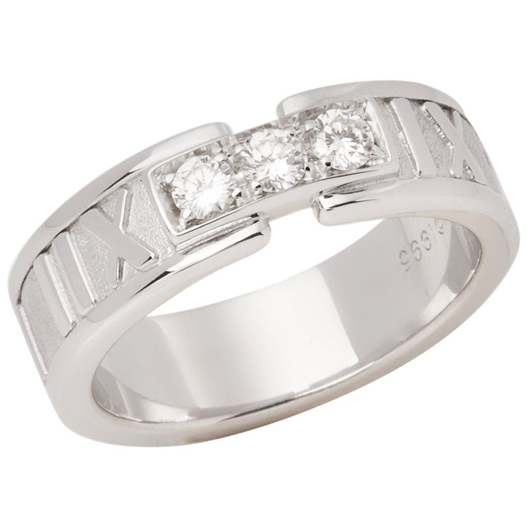 Tiffany & Co. Atlas Diamond 18 Carat White Gold Band Ring For Sale