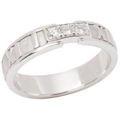 Tiffany & Co. Atlas Diamond 18 Carat White Gold Band Ring