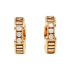 Tiffany & Co. Atlas Diamond 18K Rose Gold Hoop Earrings