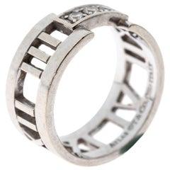 Tiffany & Co. Atlas Diamond 18K White Gold Open Band Ring Size 52