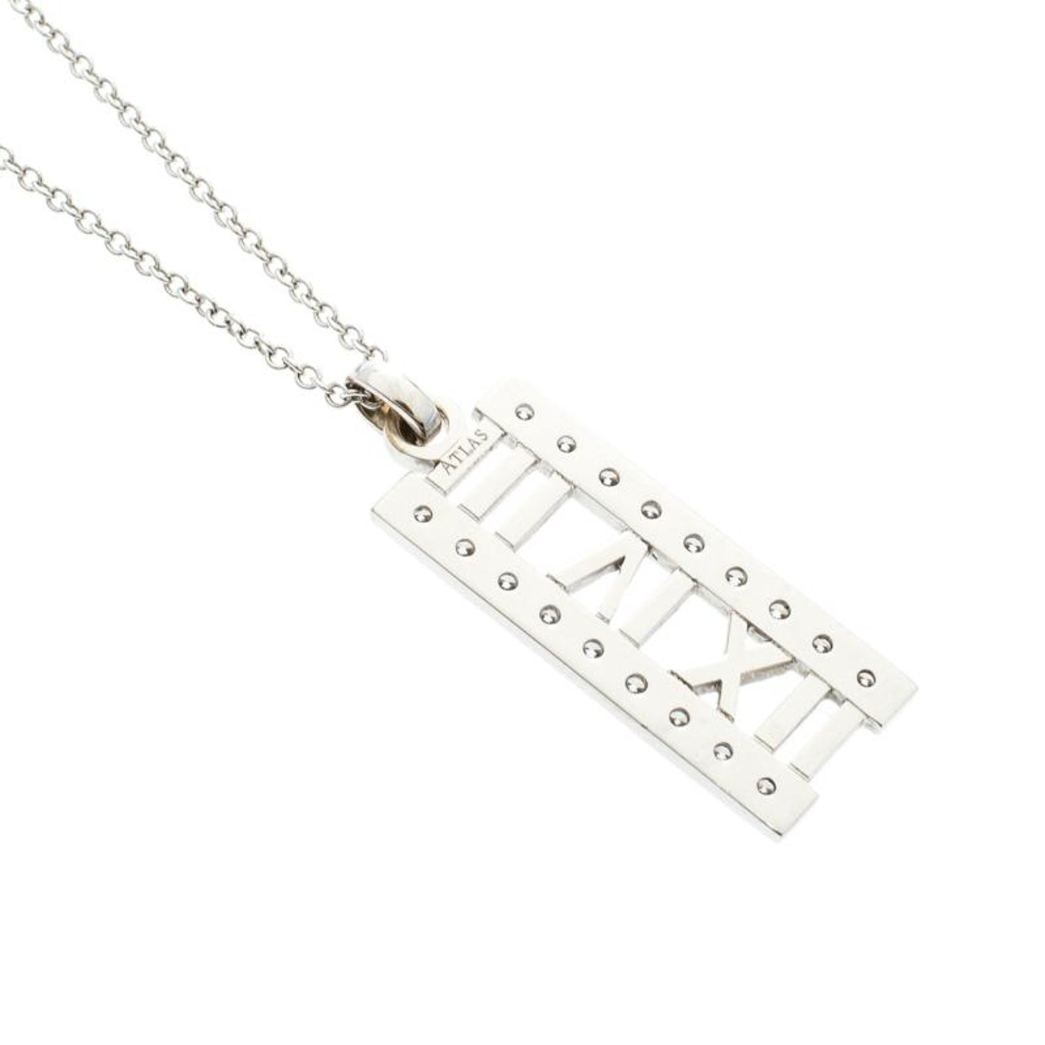 de62016b1 Tiffany and Co. Atlas Diamond 18k White Gold Open Bar Pendant Necklace For  Sale at 1stdibs