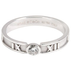 Tiffany & Co. Atlas Diamond Engagement Ring Solitaire Band Stacking White Gold