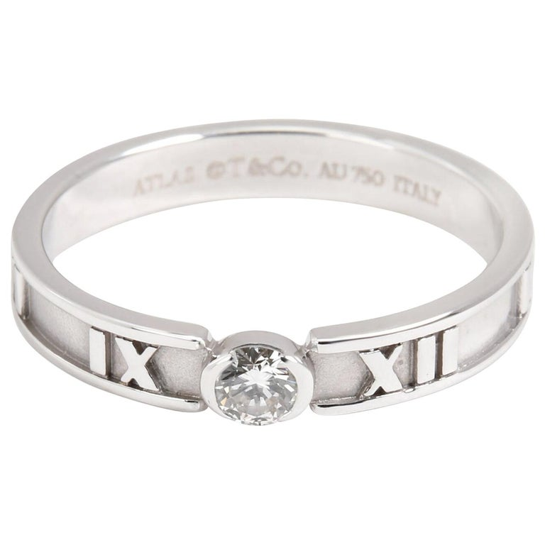 Tiffany & Co. Atlas Diamond Engagement Ring Solitaire Band Stacking White Gold For Sale