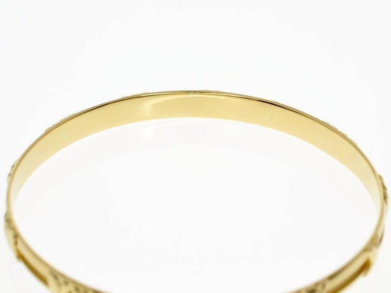 28c9d0b47 Tiffany & Co. Atlas 18 Karat Yellow Gold Bangle 20cm In Good Condition For  Sale