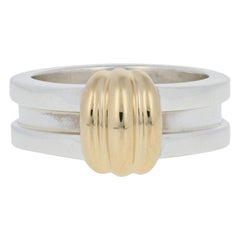 Tiffany & Co. Atlas Groove Ring, Silver & 18k Yellow Gold Statement