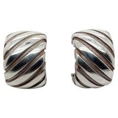 Tiffany & Co. Atlas Groove Stripe Sterling Silver Clip-On Earrings