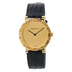 Tiffany & Co. Atlas M0630 With 7 mm Band, Yellow-Gold Bezel & Gold Dial