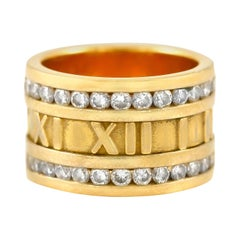 Tiffany & Co. Atlas Numeric 18 Karat with Diamond Ring
