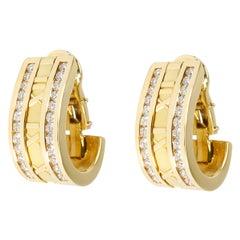 Tiffany & Co. Atlas Numeric Diamond Earrings in 18 Karat Yellow Gold 1.6 Carat