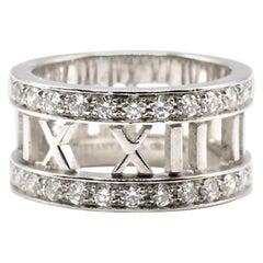 Tiffany & Co. Atlas Open 18 Karat White Gold Diamond Band Ring