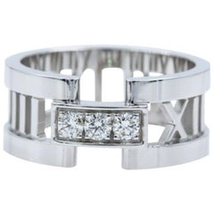 Tiffany & Co. Atlas Open Band Ring in 18 Karat White Gold with Diamonds