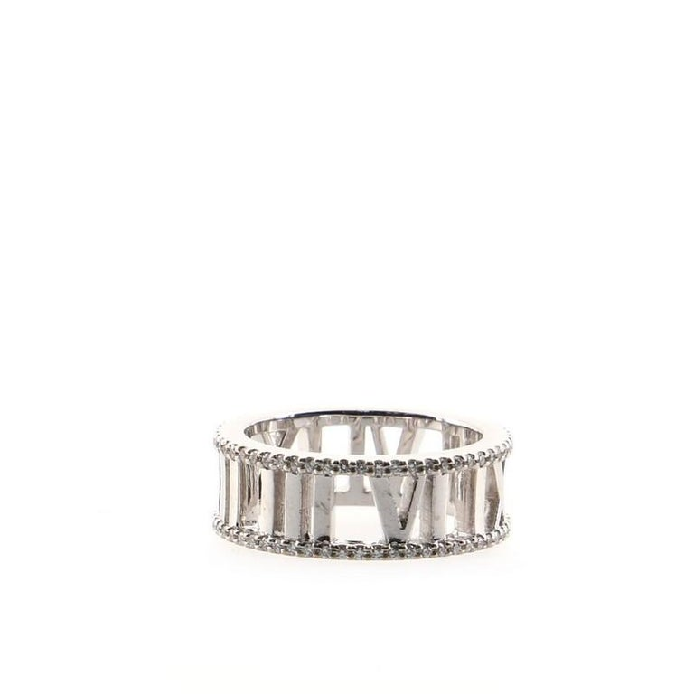 Tiffany & Co. Atlas Open Ring 18K White Gold and Diamonds In Good Condition For Sale In New York, NY