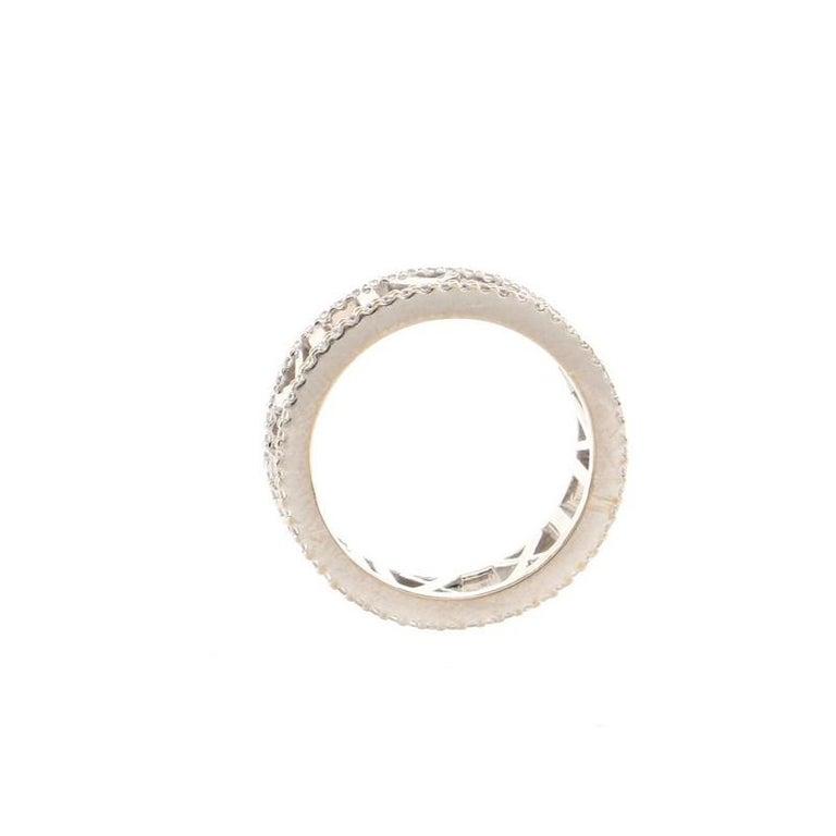 Women's or Men's Tiffany & Co. Atlas Open Ring 18K White Gold and Diamonds For Sale