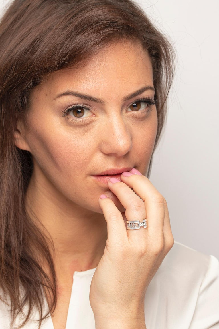 Women's or Men's Tiffany & Co. 'Atlas' Open Style Three-Stone Diamond Ring For Sale