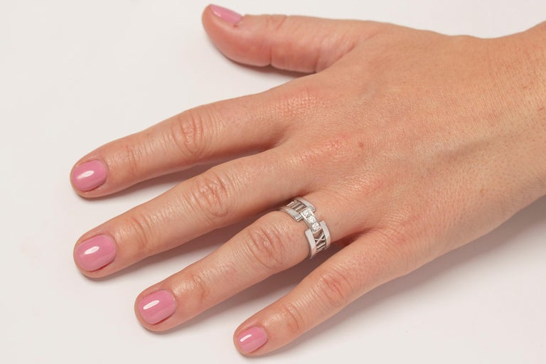 Tiffany & Co. 'Atlas' Open Style Three-Stone Diamond Ring For Sale 1