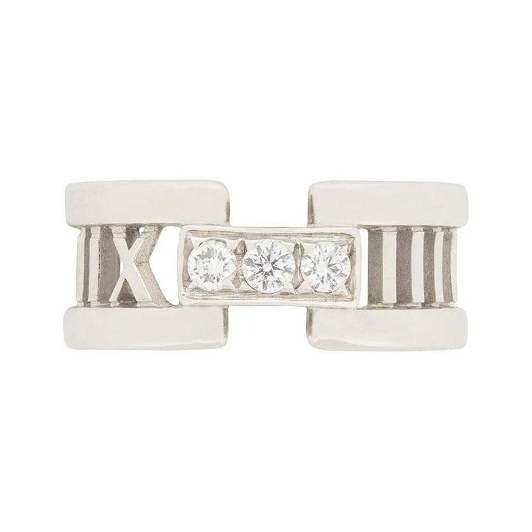 Tiffany & Co. 'Atlas' Open Style Three-Stone Diamond Ring For Sale