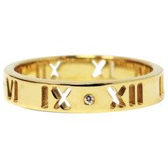Tiffany & Co. Atlas Pierced Band Ring with Diamonds 18 Karat Yellow Gold