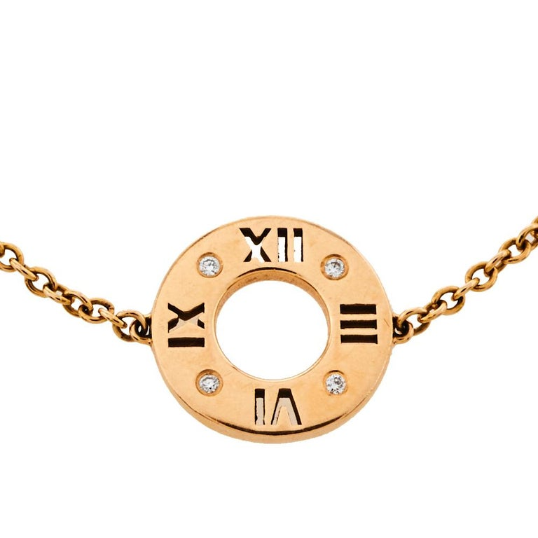Rose Cut Tiffany & Co. Atlas Pierced Diamond 18K Rose Gold Bracelet For Sale