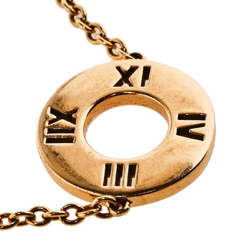 Tiffany & Co. Atlas Pierced Diamond 18K Rose Gold Bracelet In Good Condition For Sale In Dubai, Al Qouz 2