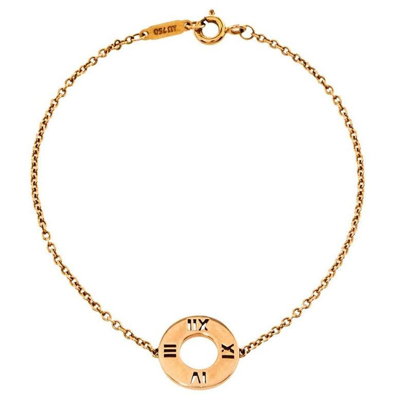 Tiffany & Co. Atlas Pierced Diamond 18K Rose Gold Bracelet For Sale