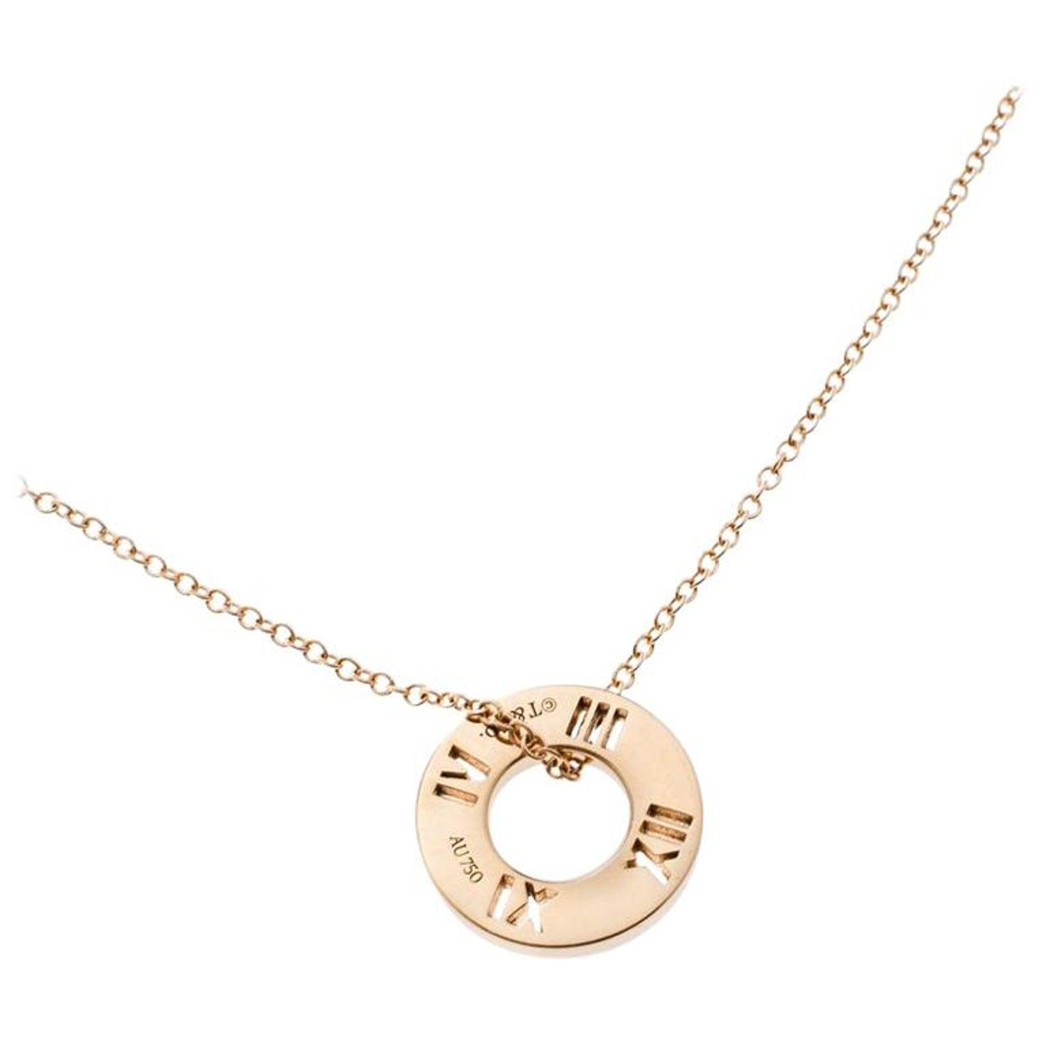 f47b09b06 Tiffany and Co. Atlas Pierced Diamond and 18k Rose Gold Pendant Necklace at  1stdibs