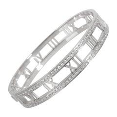 Tiffany & Co. Atlas Pierced Diamond Bangle in 18K White Gold 1.50 CTW