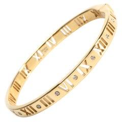 Tiffany & Co. Atlas Pierced Hinged Diamond Bracelet in 18 Karat Yellow Gold