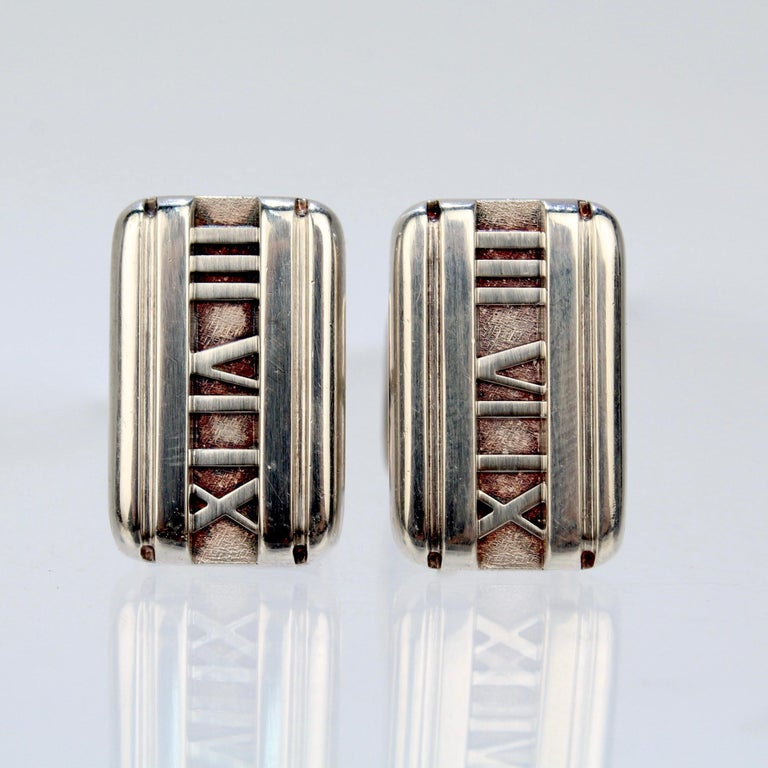Tiffany & Co. Atlas Roman Numeral Sterling Silver Cufflinks In Good Condition For Sale In Philadelphia, PA
