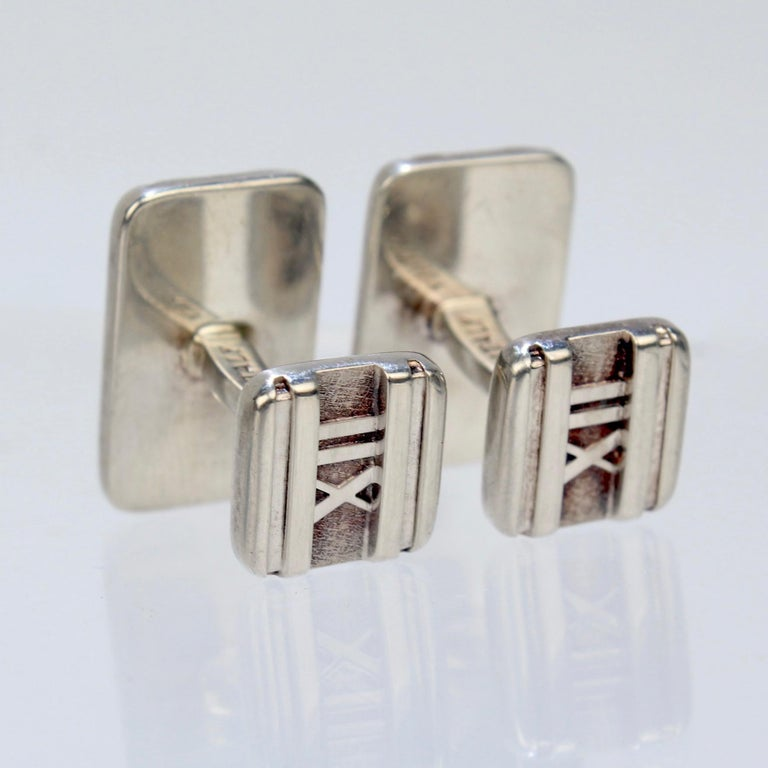 Men's Tiffany & Co. Atlas Roman Numeral Sterling Silver Cufflinks For Sale